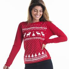 women reindeer christmas jumper styled longsleeve tee by jolly ...