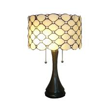 24 In Antique Bronze Modern Stained Glass Table Lamp With Pull Chain