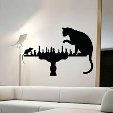 mouse in the wall cat playing chess with mouse wall stickers home decor vinyl removable creative wall decals animals mouse walking slowly