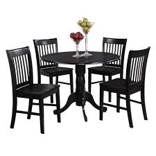 5pc set round dinette kitchen dining table with 4 wood seat chairs in black