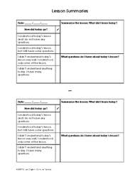 Lesson Summary Template For Student Binders By Citizen English Tpt