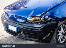Anterior Lighting Small Blue Car Damaged Anterior Left Stock Photo Edit Now