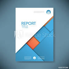business report cover page template business report cover template on blue material design background