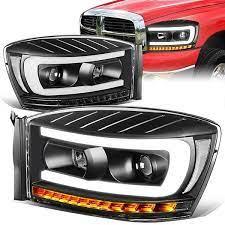 06 09 Dodge Ram 1500 2500 3500 Led Drl Sequential Turn Signal Projector Headlights Black Projector Headlights Headlights Dodge Ram 1500