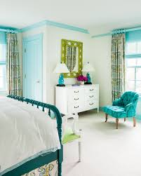 blue teen girl bedroom with turquoise blue crown moldings