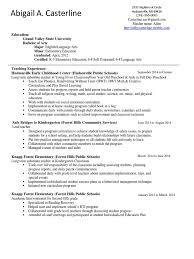 Resume Preschool Teachers
