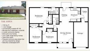 Modern Single Family House Floor Plan 3d With 2 Bedrooms Single Family House Plans