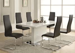 coaster modern dining 7 piece white table black upholstered chairs