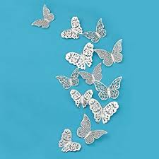 Silver Butterfly <b>Decorations</b>,<b>3D Wall</b> Decals,Wall Metallic Art Sticker ...