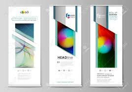 Flyers Flag Roll Up Banner Stands Flat Style Templates Modern Business
