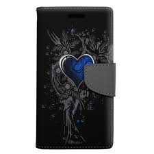 LG K20 Plus Highlighted Heart Blue Wallet Case - Trek Phone Cases
