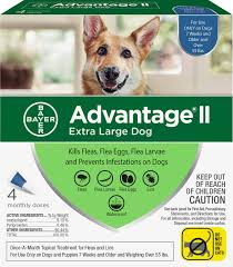 Advantage Ii Dosage Chart For Cats Advantage Ii Flea Treatment For Extra Large Dogs Over 55 Lbs 4 Treatments
