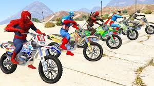 motorbike cars for kids in spiderman cartoon with superheroes
