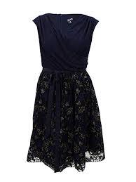 Slny Womens Plus Size Metallic Print Fit Flare Dress