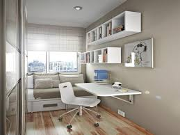 furniture striking wall wall mounted bookcase in small space with sofa bed also storage drawer underneath with floating white study desk and rolling chair