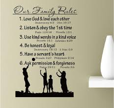 Our Family Rules Love God And Love Each Others Listen And Obey The Fist Time Vinyl Wall Art Inspirational Quotes Decal Sticker