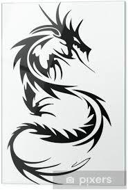 Skleněný Obraz Tribal Tetování Drak