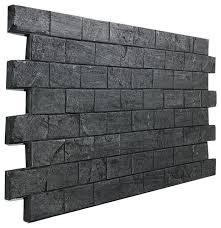 slate subway tile brick wall panel charcoal