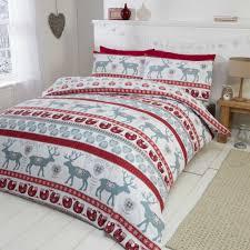 Scandi Brushed Cotton Red Christmas Bedding
