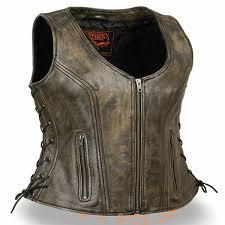 milwauke women zipup scoop neck distress brown leather motorcycle vest