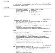 Nanny Resume Objective Sample Babysitter Resume Sample Resume