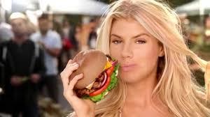 Sexy girl eating carl's jr burger