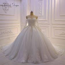 Ball Sleeves Design Amanda Design Robe De Mariee New Off Shoulder Lace Ball Gown Wedding Dress Long Sleeves 2019