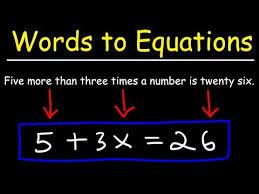 writing sentences as equations