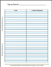 How To Make A Signup Sheet Free Printable Blank Sign Up Sheet Student Handouts Make