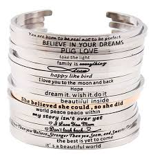 Inspirational Quotes Bracelets Awesome 48 Fashion Stainless Steel Engraved Positive Inspirational