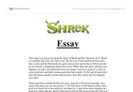 shrek essay gcse media studies marked by teachers com document image preview