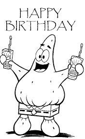 Happy Birthday Spongebob Coloring Pages Free Printable Coloring