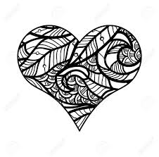 decorative love heart vector ilration coloring book for and older children stock