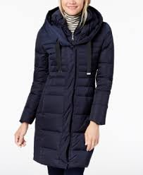T Tahari Coat Size Chart Mia Fitted Puffer Coat In Mystic Blue