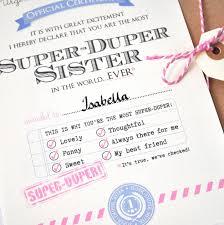 Personalised Best Sister Certificate By Eskimo Kiss Designs