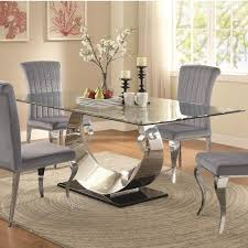 Coaster Manessier Contemporary Glass Dining Table Value City