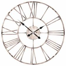 large 92cm vintage copper effect industrial skeleton metal wall clock