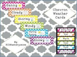 Child Care Temperature Chart Chevron Weather Cards My Teachers Pay Teachers Store