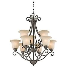 kichler builder camerena 9 light chandelier in olde bronze traditional chandeliers chandeliers