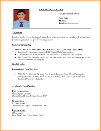 Indian Simple Job Resume Resume Corner