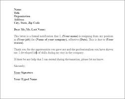 Formal Resignation Letter Example Resign Letter Template Atlasapp Co