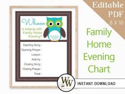 Family Home Evening Chart Editable Pdf Fhe Assignments 8x10 Instant Download Green Blue Owl