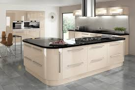 Kitchen And Granite Cream Gloss Kitchen With Integrated Handle And Granite Worktop