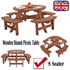 wood 8 seater wooden pub bench round picnic table garden seating chair furniture