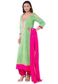 Light Green Combination Leheriya Cotton Punjabi Suit In Light Green