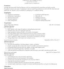 Sample Resume For Machinist Acepeople Co