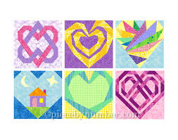 6 Heart Quilt Block Patterns paper piecing quilt patterns & 🔎zoom Adamdwight.com