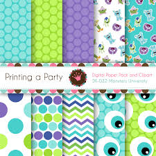 Monster Inc Baby Shower Decorations Digital Paper Pack And Clip Art Monsters University Monsters