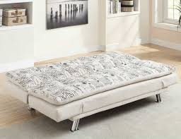 modern futon sofa bed. Modren Futon White Scripted Fabric Click Sofa Bed With Adjustable Arm Rests Open   Modern Futon Chicago In N
