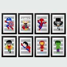 superhero wall art pick 6 prints super hero wall art boys room art or playroom art superhero wall art
